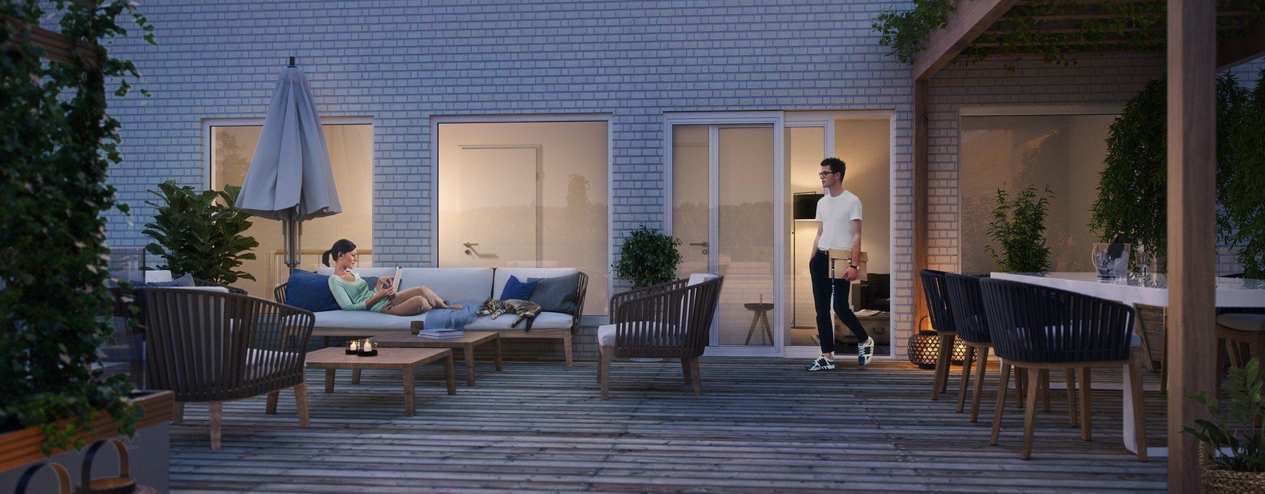 Gartnerboligen terrasse natt